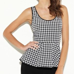 G By Guess Peplum Houndstooth Sleeveless Top